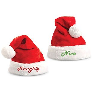 a4d68814fd8c8c Nice & Naughty Embroidered 2 Piece Santa Hat Set