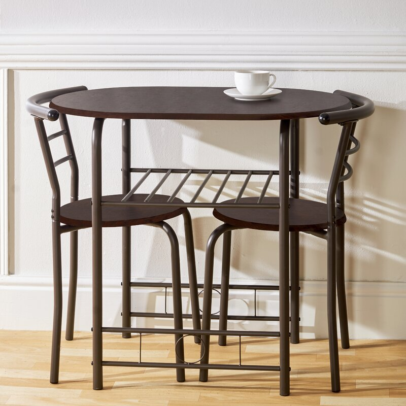 Compact Dining Set With 2 Chairs