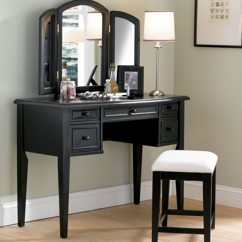 Antique Black Vanity Set with Mirror - Powell Antique Black Vanity Set With Mirror & Reviews Wayfair