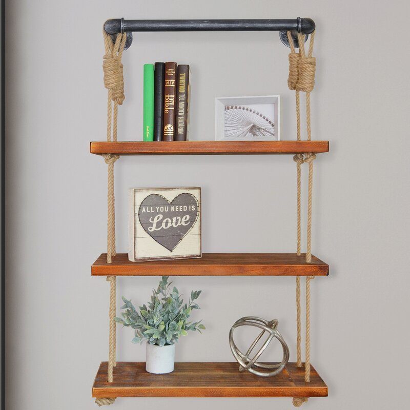 Bungalow Rose Castillon Industrial Modern Pipe Wall Shelf With