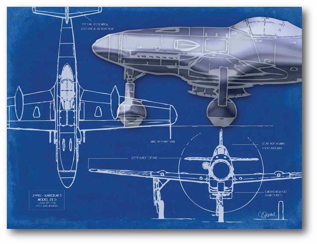 Williston forge airplane blueprint 2 graphic art print on airplane blueprint 2 graphic art print on stretched canvas malvernweather Image collections