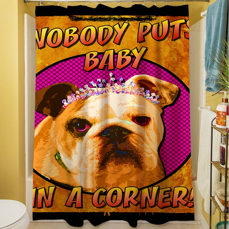 Manual Woodworkers & Weavers Sassys Dog Baby Shower Curtain | Wayfair