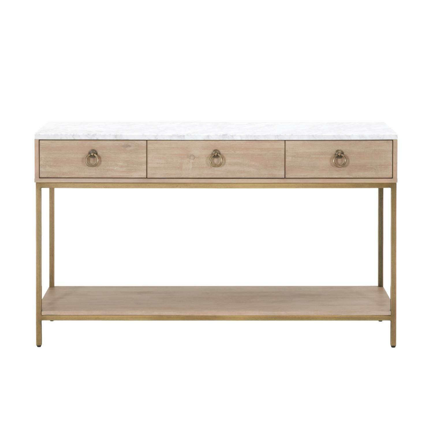 Everly Quinn Pottsville 3 Drawers And 1 Open Shelf Marble Top Entry Console  Table | Wayfair