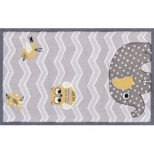 Gray/Purple Elephant and Bird Area Rug