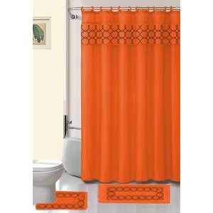 red and brown shower curtain. Avelaine Shower Curtain Set Orange Curtains You ll Love  Wayfair