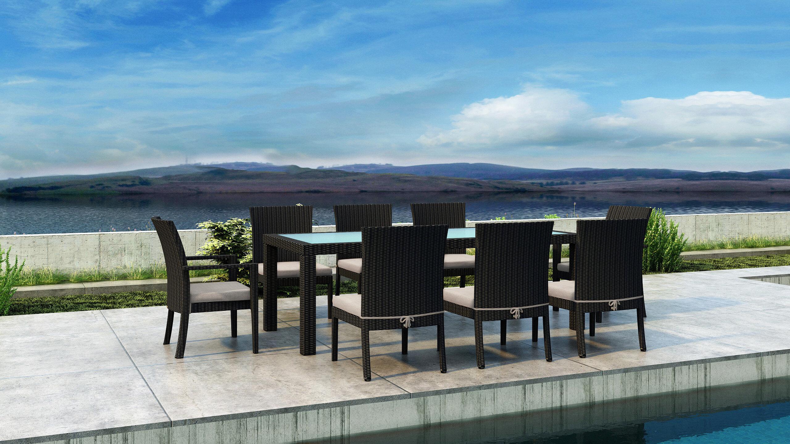 Everly quinn glendale 9 piece dining set with sunbrella cushion wayfair