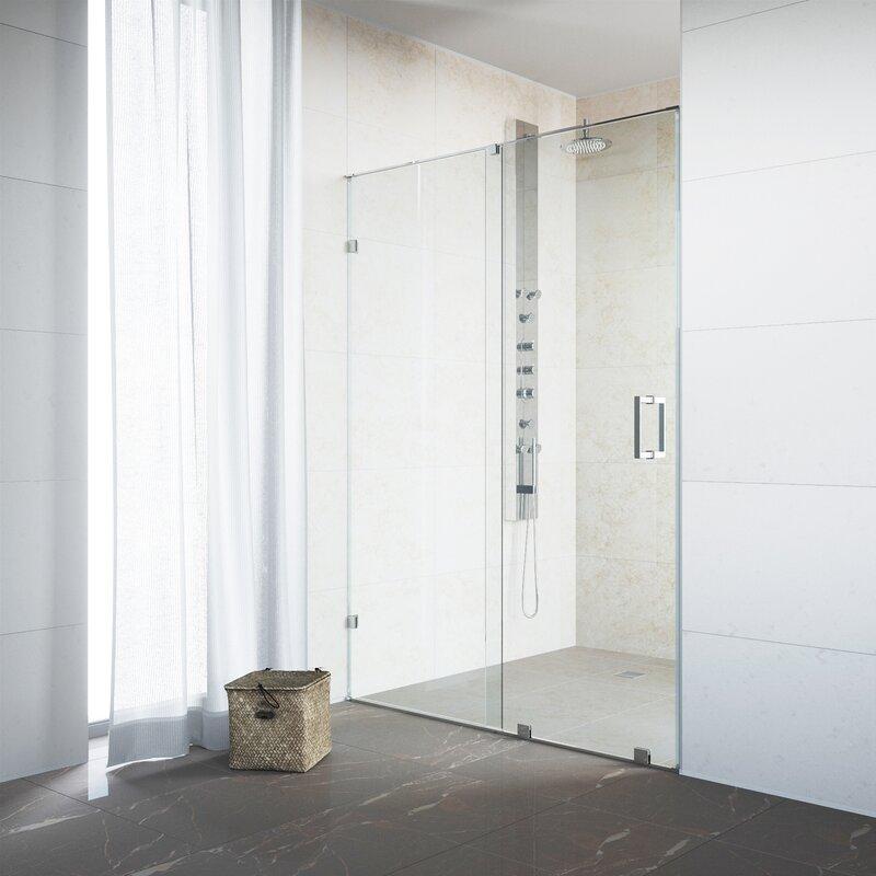 Ryland 64\  x 73\  Single Sliding Frameless Shower Door & VIGO Ryland 64\