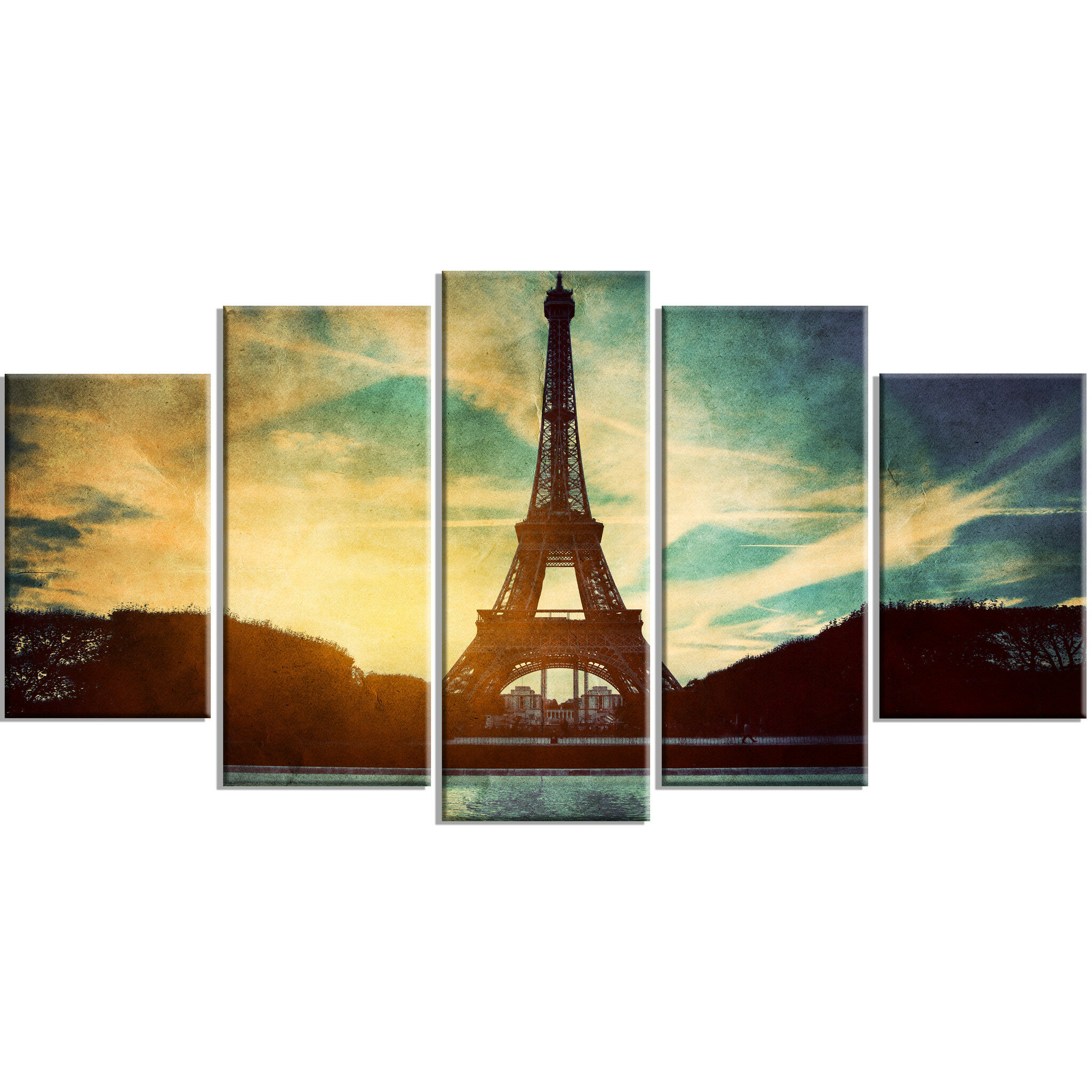 DesignArt Metal \'Eiffel Tower Retro Style\' 5 Piece Photographic ...