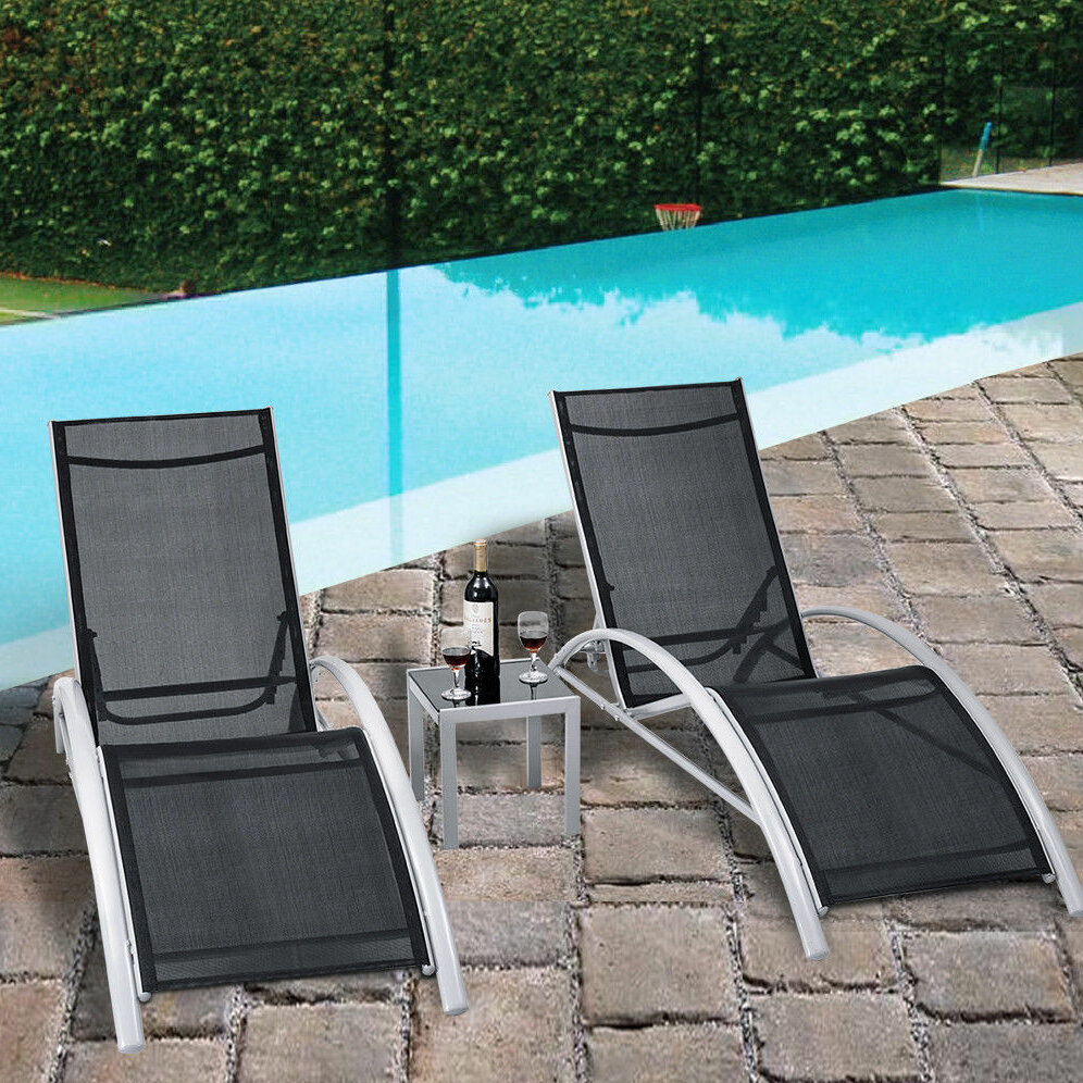 Orren Ellis Jose 3 Piece Outdoor Patio Pool Lounger Reclining Chaise
