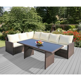Barcelona 3 Piece Rattan Sectional Set With Cushions