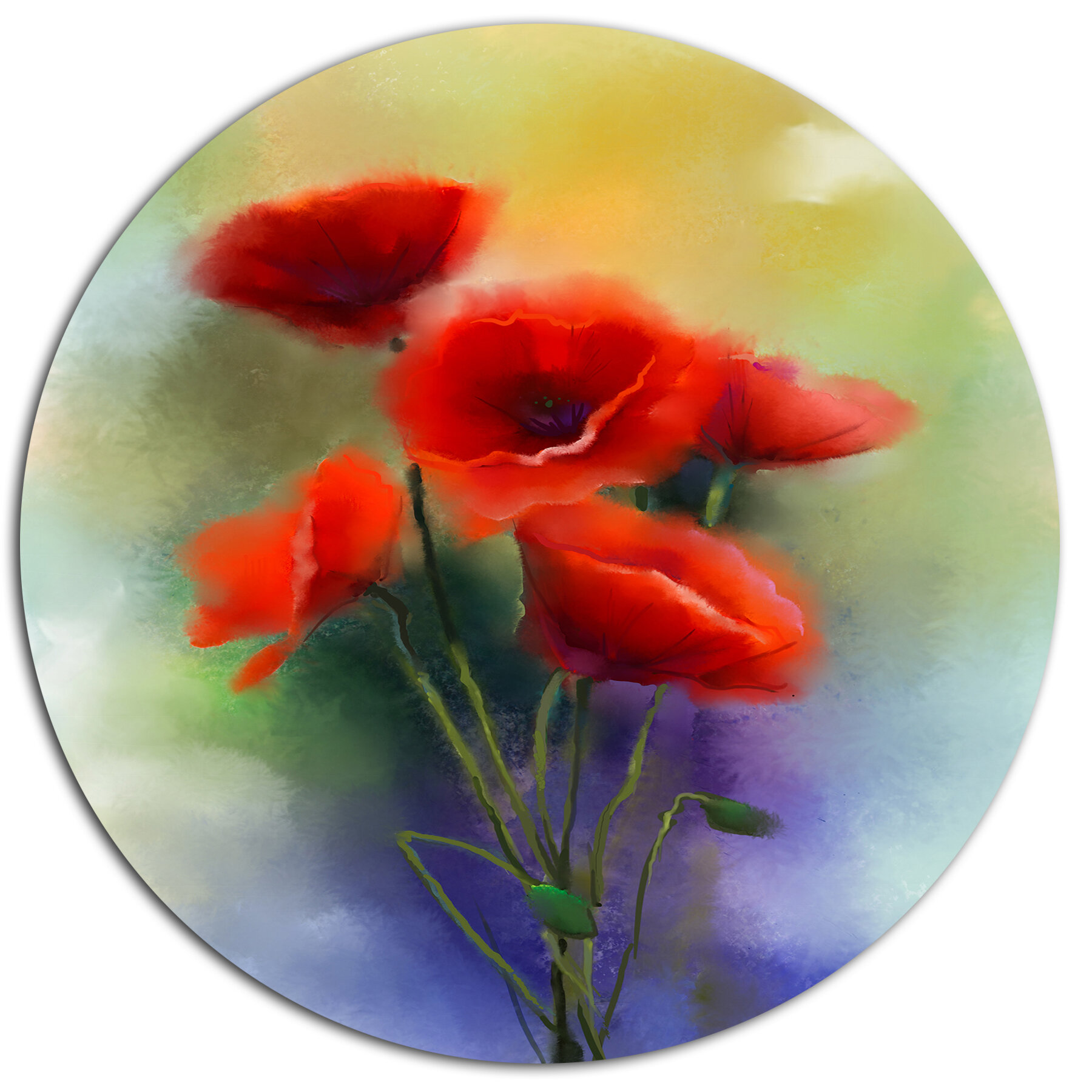 Designart Watercolor Red Poppy Flowers Painting Oil Painting Print