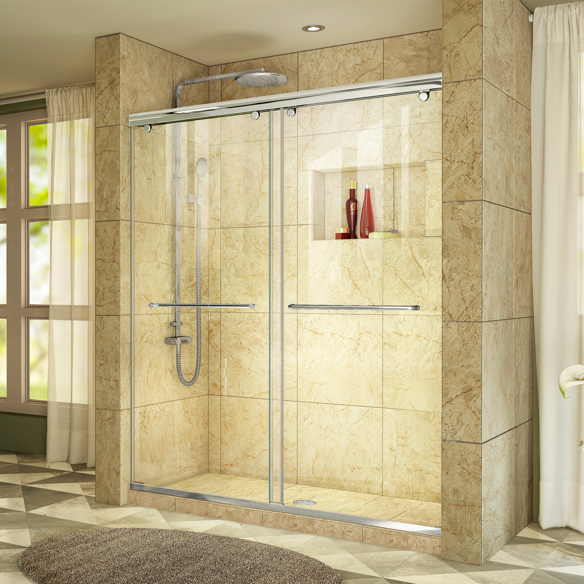 nickel wet shower trident enigma sliding doors door x single pin republic lux brushed