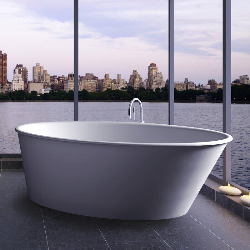 "clarke products oval one 58"" x 34.75"" freestanding soaking bathtub"