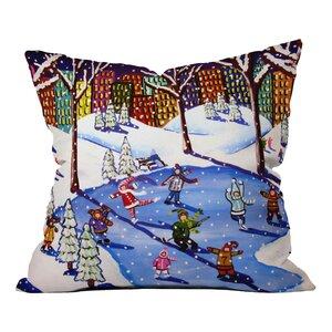 Renie Britenbucher Winter Fun In The City Throw Pillow