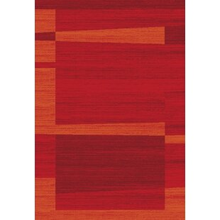 Barrymore Red/Orange Rug by Charlton Home