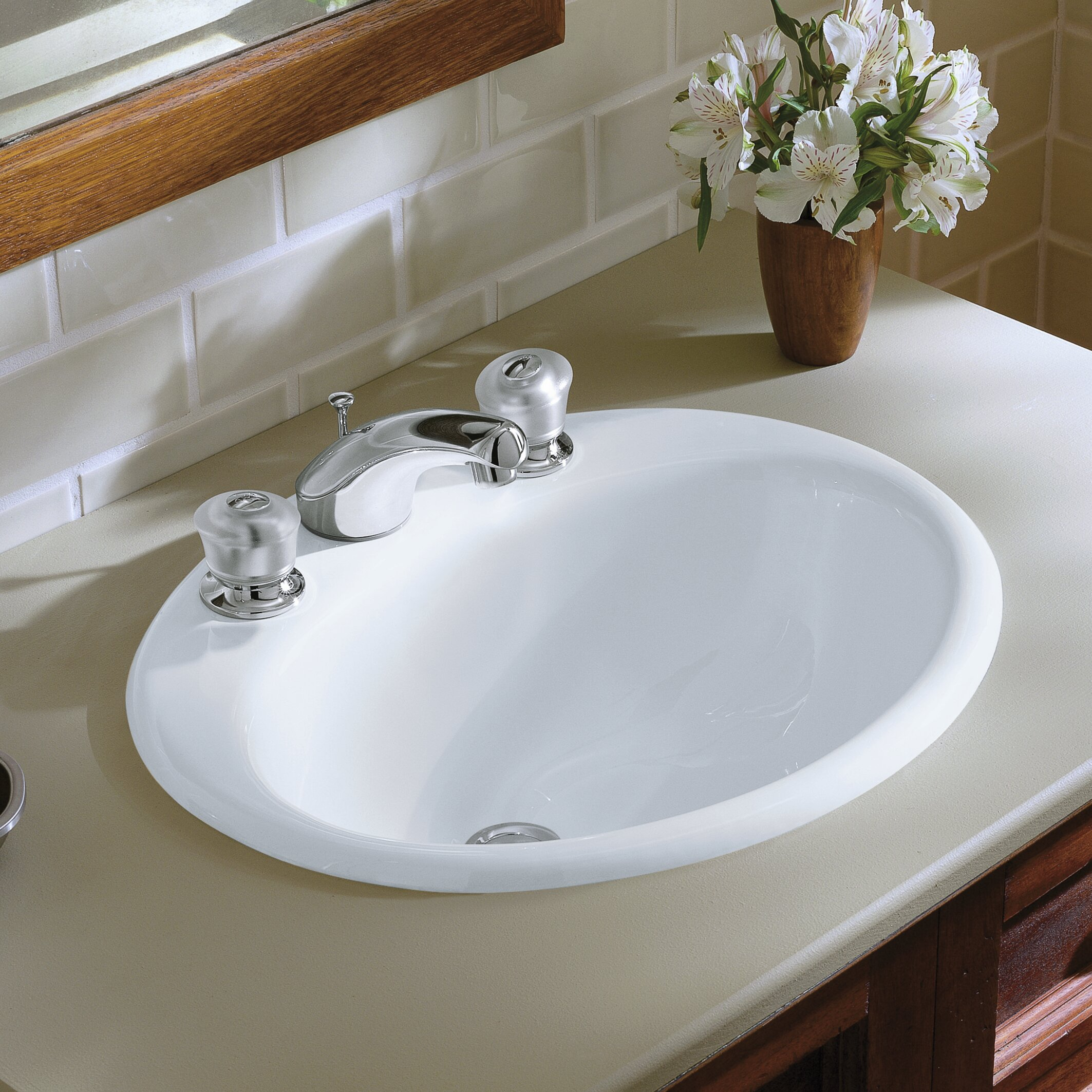 K 2905 8 0 7 96 Kohler Farmington Metal Oval Drop In Bathroom Sink With Overflow Reviews Wayfair
