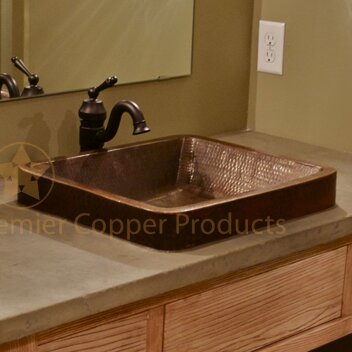 Premier Copper Products Skirted Metal Rectangular Vessel