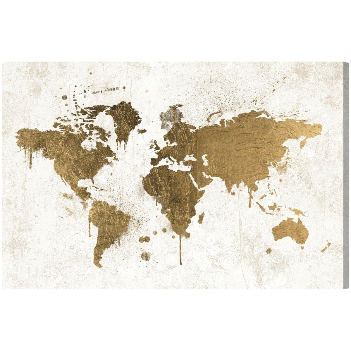 Mapamundi White Gold Maps Art Wrapped Canvas Print