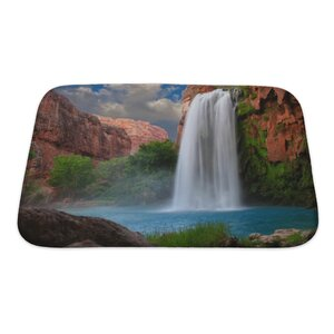 Landscapes Beautiful Waterfall Photographed with a Slow Shutter Speed to Blur the Water Bath Rug