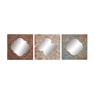 3 Piece Metal Wood And Mirror Wall Decor Set