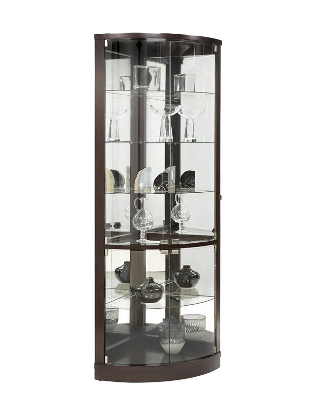 mayfield lighted corner curio cabinet
