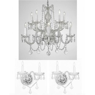 Chandelier wall sconce wayfair lippert 3 piece crystal chandelier and wall sconce set aloadofball Image collections