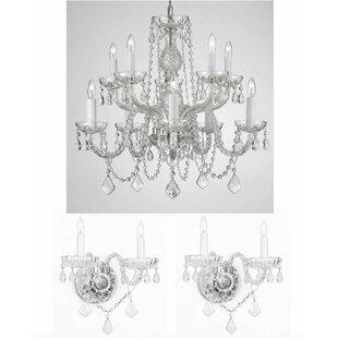 Chandelier wall sconce wayfair lippert 3 piece crystal chandelier and wall sconce set aloadofball Gallery