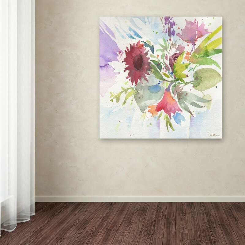 Bouquet Impression By Sheila Golden Painting Print On Wred Canvas