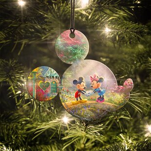disney mickey and minnie mouse sweetheart bridge hanging ornament - Minnie Mouse Christmas Decorations