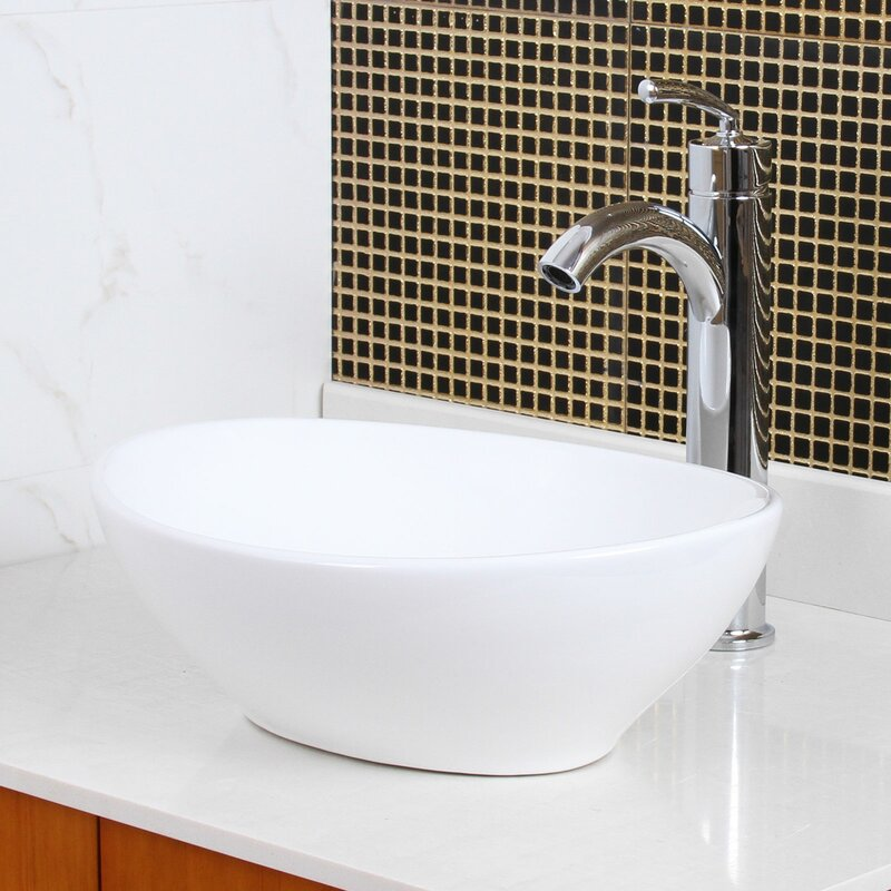 8089+P01C Ceramic Oval Vessel Bathroom Sink