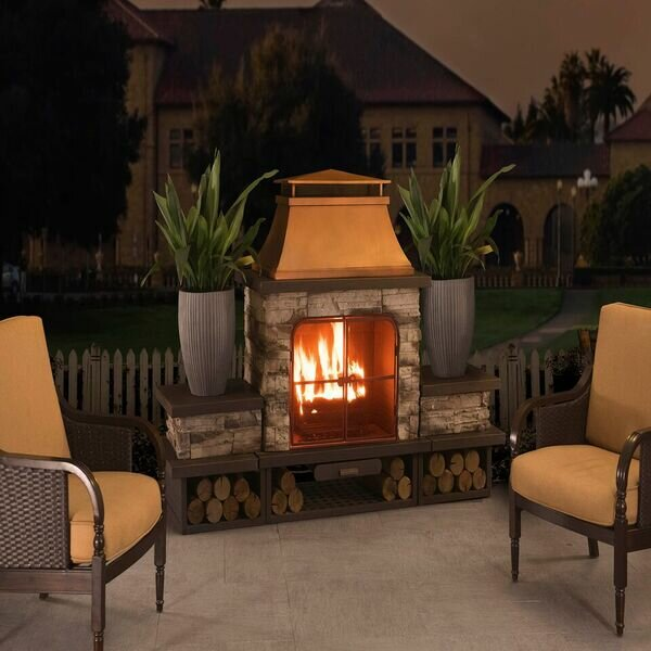 Sunjoy connan steel wood burning outdoor fireplace for Where to buy outdoor fireplace