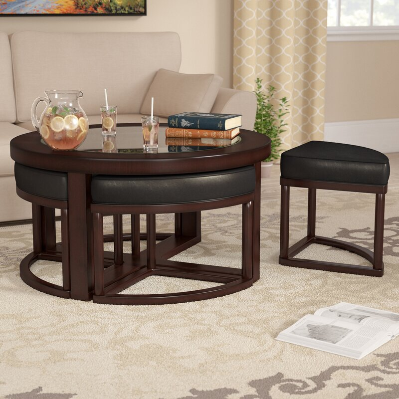 Marvelous Plumwood Coffee Table With Nested Stools