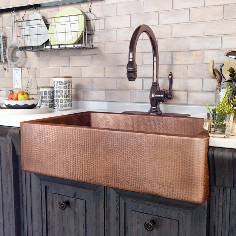 sinkology adam 33 l x 22 w farmhouse apron kitchen sink reviews rh wayfair com kitchen sink copper plumbing kitchen sink copper plumbing