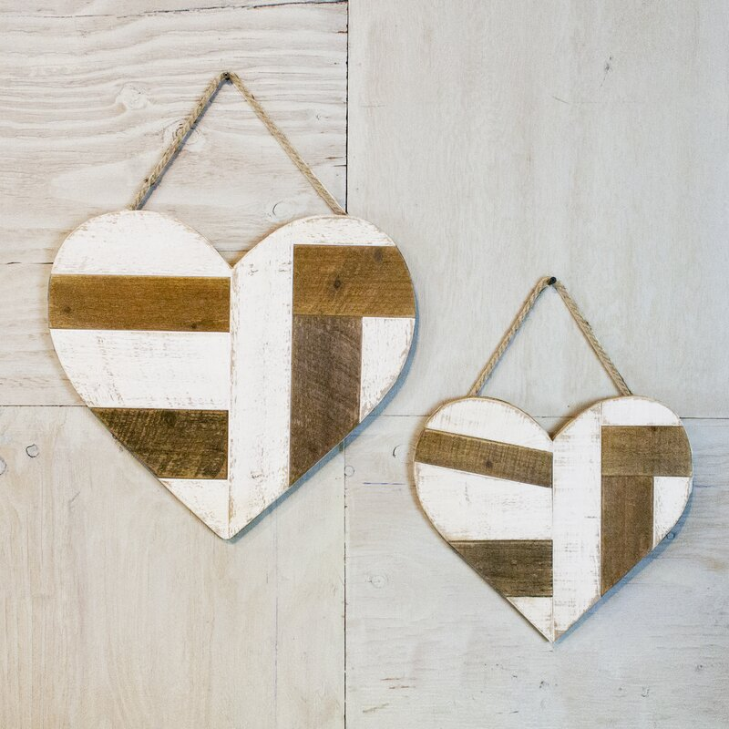 Quilted Love Wooden Hearts 2 Piece Wall Decor Set