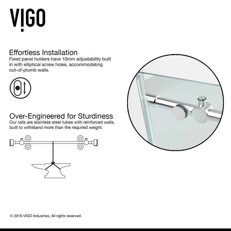 Elan 64  x 74  Single Sliding Frameless Shower Door  sc 1 st  Wayfair & VIGO Elan 64