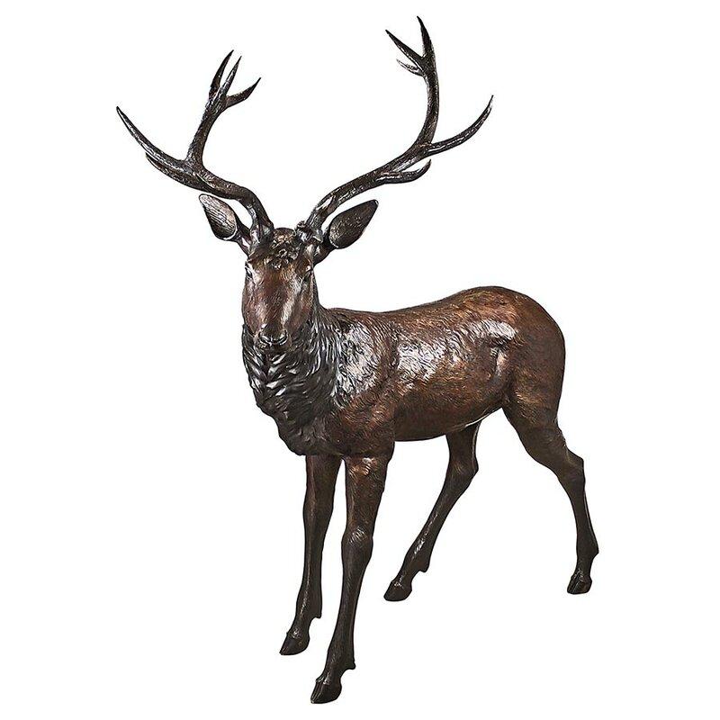 Standing Deer Buck Garden Statue