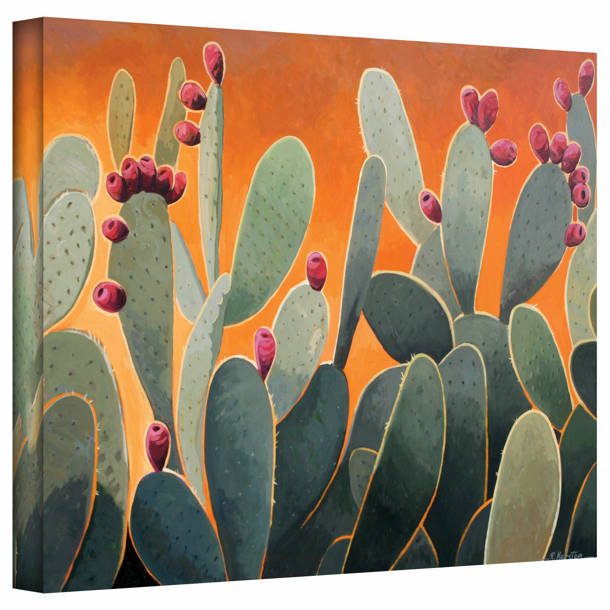 Cactus Orange Painting Print On Canvas Reviews
