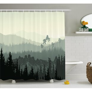 Burroway The Panorama Of A Valley And Mystic Forest Pine Trees Shower Curtain