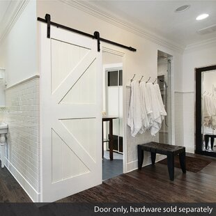 Stile Rail K Planked Manufactured Wood 4 Panel White Interior Barn Door