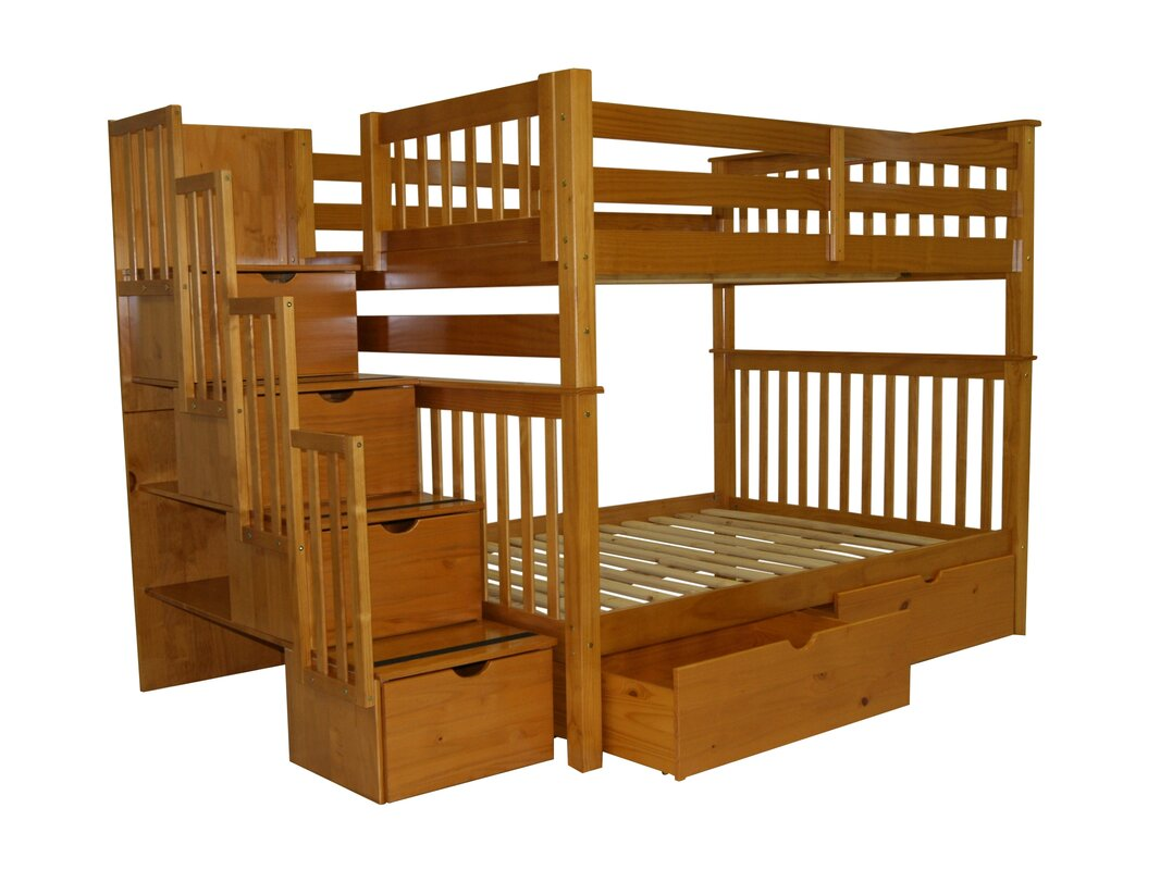 Stairway Full Over Bunk Bed With Extra Storage
