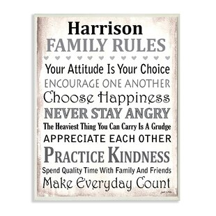 Genial Personalized Family Rules By Janet White Textual Art On Wood