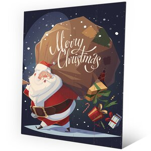 'Merry Christmas - Gifts' Graphic Art on Plaque