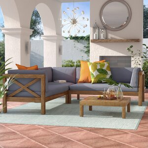 Lejeune 4 Piece Sofa Set with Cushion