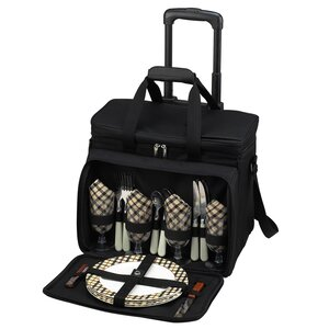 Picnic Cooler for Four with Wheels and Hand Grip