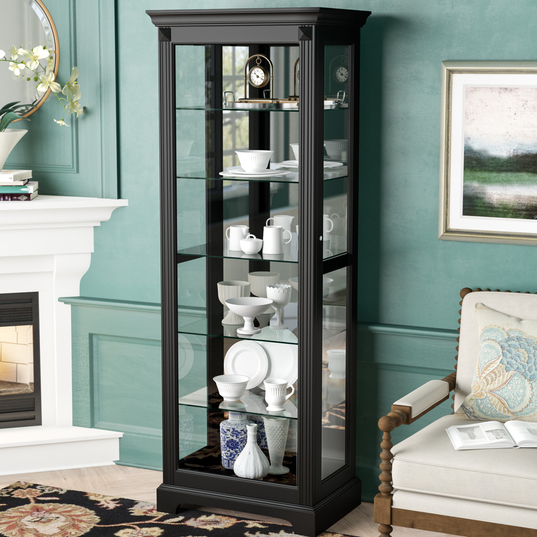 Darby Home Co Napier Lighted Curio Cabinet & Reviews | Wayfair