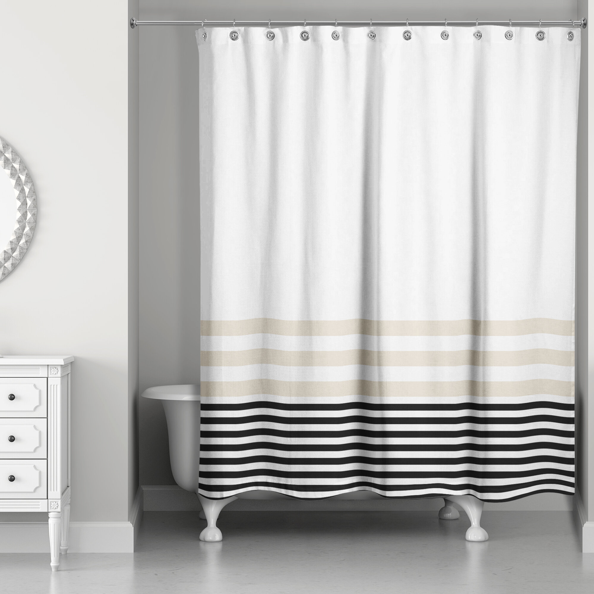 Longshore Tides Qu Stripes Single Shower Curtain Reviews
