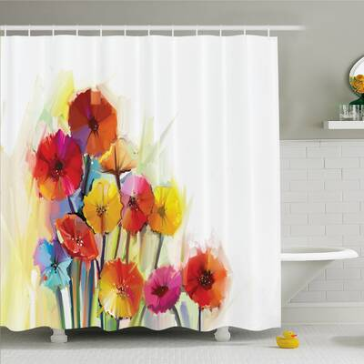 Watercolor Flower Home Gerbera Bouquets Romance Elegance Fragrance Blossom Beauty Shower Curtain Set