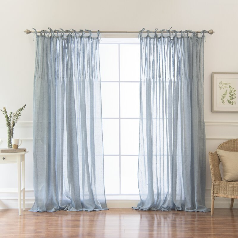 Poivr 233 E Solid Sheer Pinch Pleat Single Curtain Panel