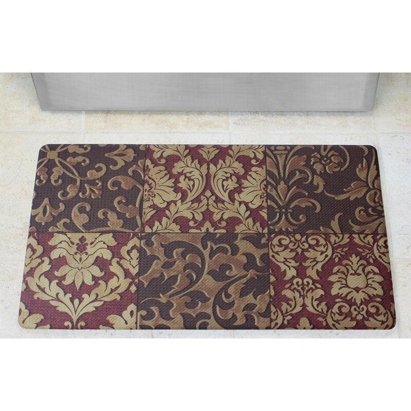Captivating Anti Fatigue Basket Weave Printed Memory Foam Comfort Kitchen Mat