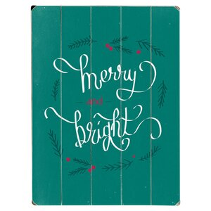 Merry & Bright Textual Art Multi-Piece Image on Wood